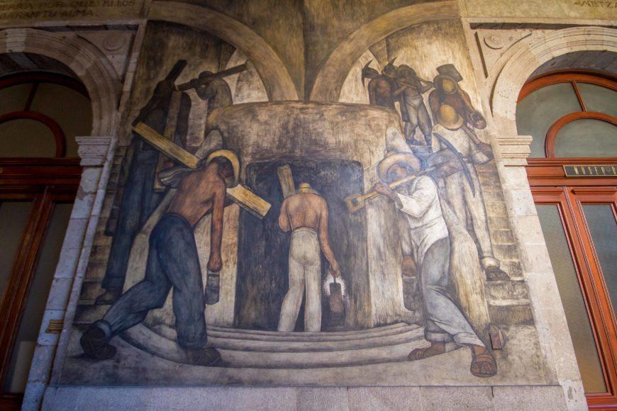 Diego Rivera, Leaving the Mine, 1923–24, mural in the Secretaría de Educación Pública, Mexico City (photo: Garrett Ziegler, CC BY-NC-ND 2.0)