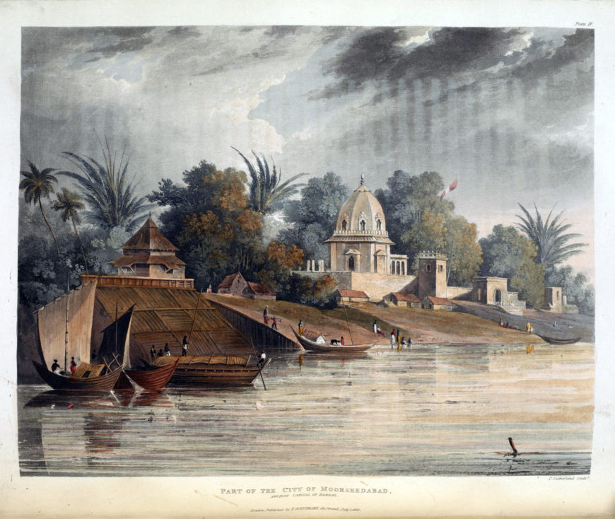 Charles Ramus Forrest's views – such as this one of Murshidabad (Moorshedabad)—present an accurate, rather than an idealised, picture of the Indian landscape. Thomas Sutherland and Charles Forrest, 1824, aquatint (© British Library)