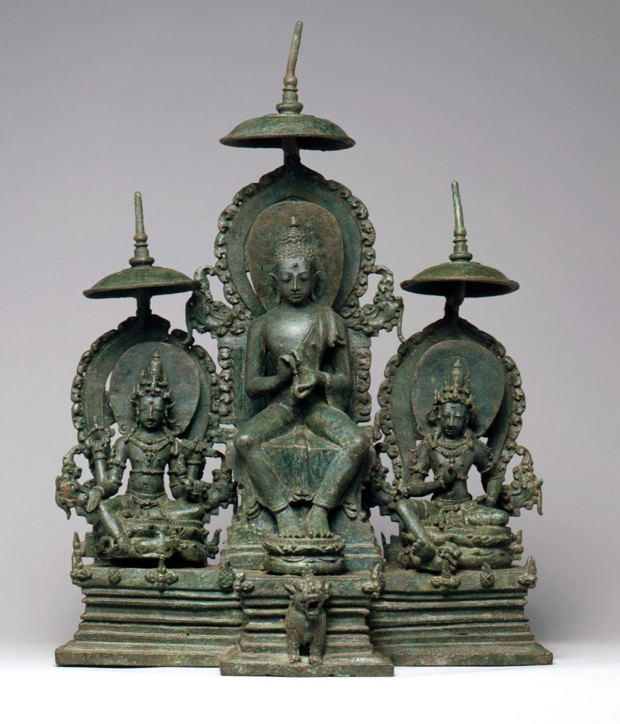 Enthroned Buddha Attended by the Bodhisattvas Avalokiteshvara and Vajrapani, second half of the 10th century, Early Eastern Javanese period, bronze, Indonesia, 29.2 cm high (The Metropolitan Museum of Art)