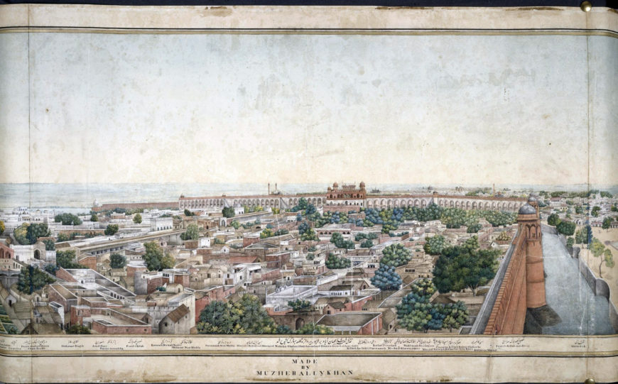 This 5-metre wide panorama of Delhi from the Lahore Gate is an accomplished work by a native draughtsman, Mazhar Ali Khan, 1846, watercolor (© British Library)