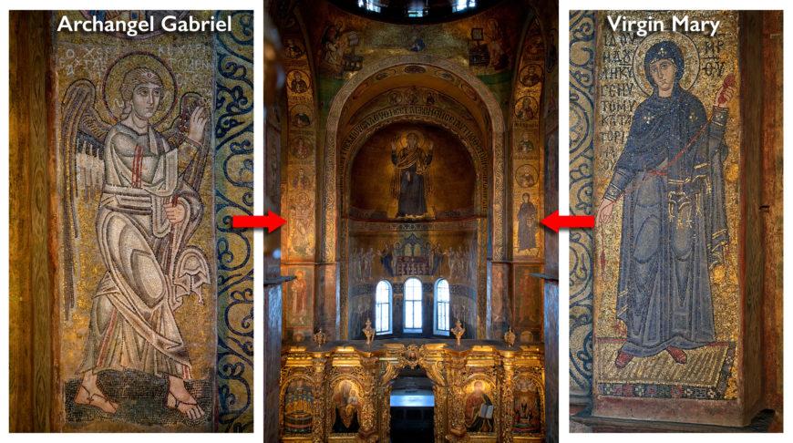 "Annunciation mosaics, St. Sophia, Kiev, begun 1037 (photos © <a href=""http://st-sophia.com.ua/fotoekspeditsii/mozaiki-sofii-kievskoj.html""> Archimandrite Seraphim</a>)"