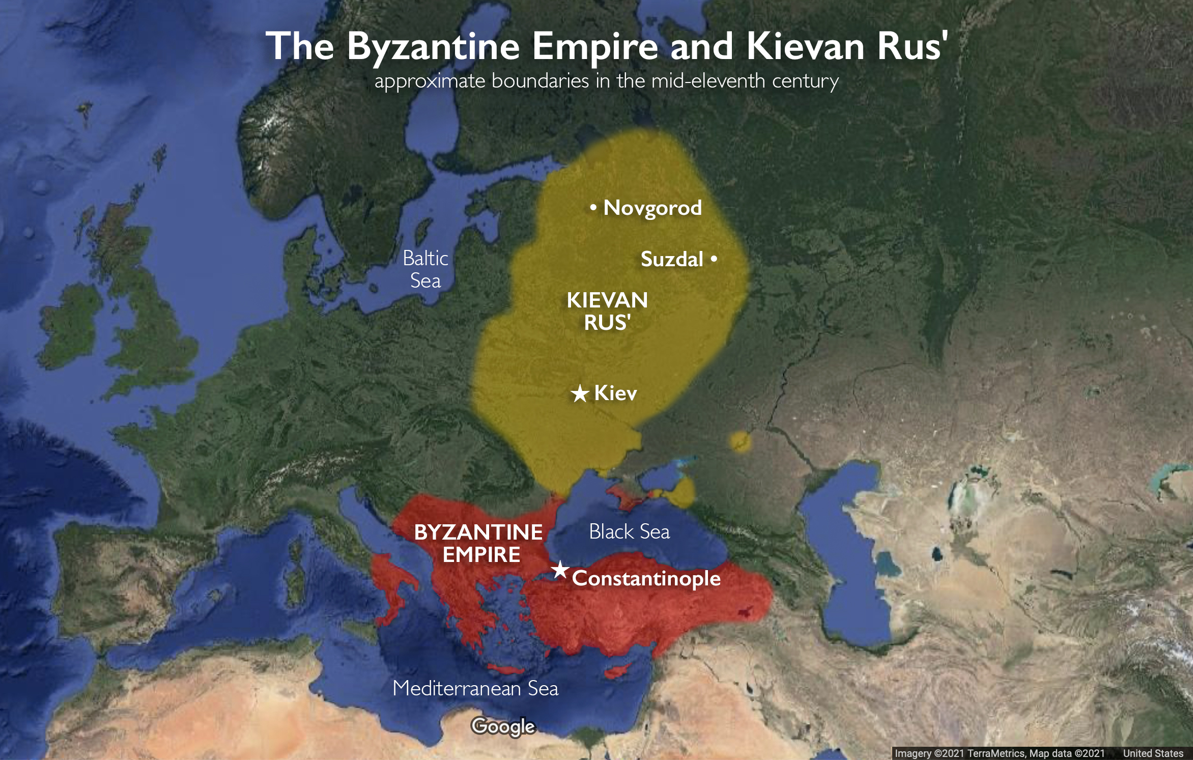 Map of the Byzantine Empire and Kievan Rus' (underlying map © Google)
