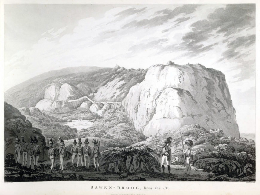 Alexander Allan's view of Savandurga shows British infantrymen pointing towards the fortress of Tipu Sultan which was captured by the British in 1791. John Wells and Alexander Allan, Sawen-Droog, from the North, plate XII from Views in the Mysore Country, 1794, aquatint (© British Library)