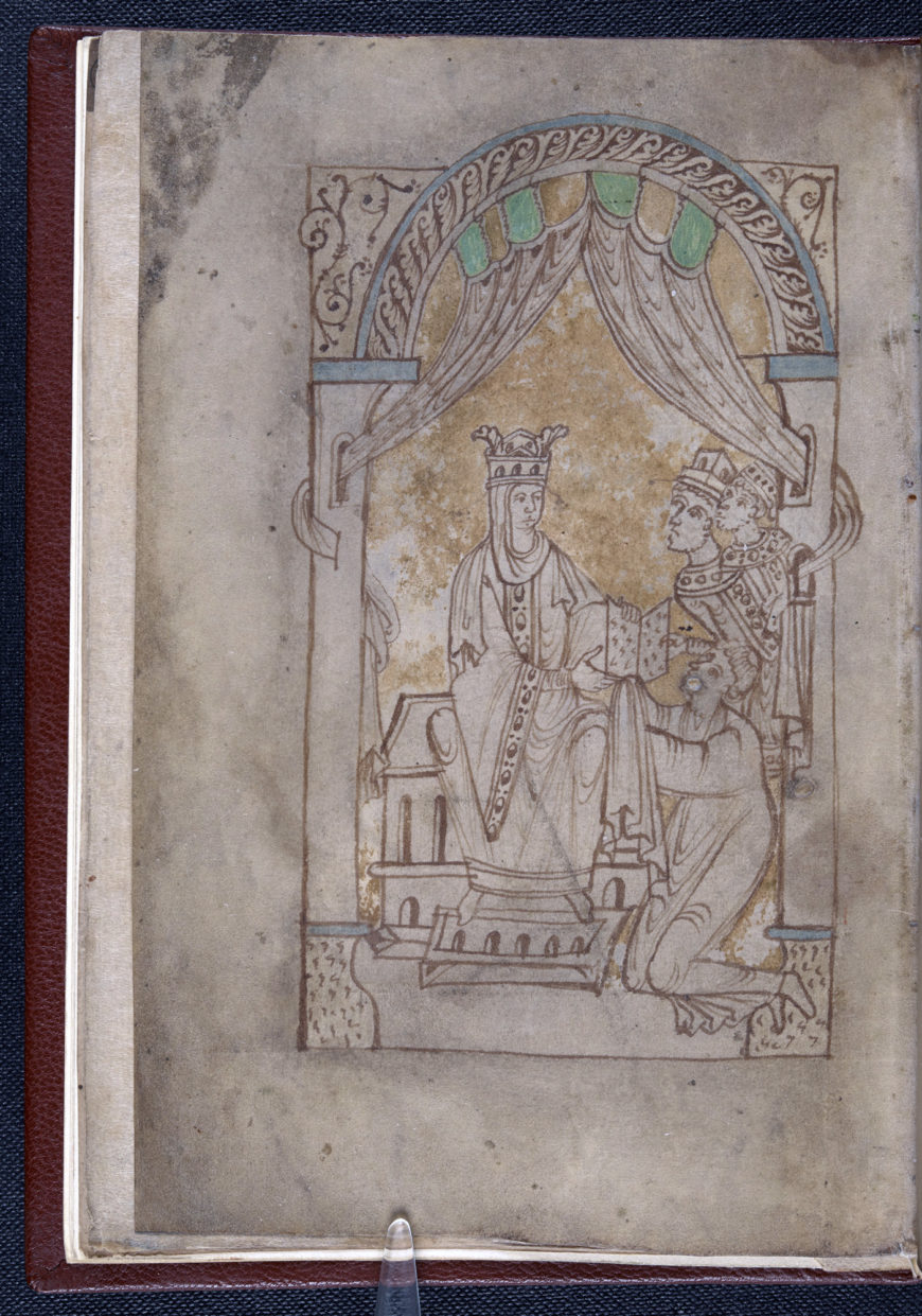 Emma and her sons Harthacnut and Edward depicted in the Encomium Emmae Reginae, 11th century (British Library, Add MS 33241, f. 1v)