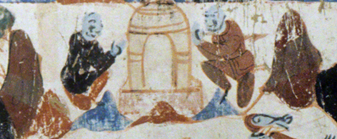 Detail of the brothers building a stupa over Prince Mahasattva's remains. Third register. Mogao Cave 428. Northern Zhou, 557-581 CE. Dunhuang. Image courtesy of the Dunhuang Academy.
