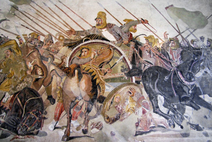 Detail of Persian soldiers and Darius III in his chariot, Alexander Mosaic, created in the 2nd century B.C.E., from the House of the Faun in Pompeii, reconstructed in the Museo Archeologico Nazionale di Napoli