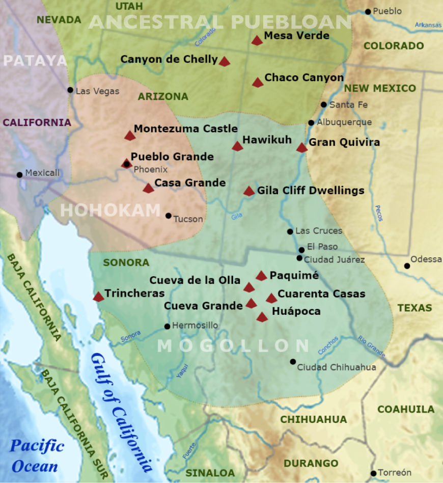Regions of ancient regional tribes in the southwestern United States and northwestern Mexico (Ricraider, CC BY 3.0)