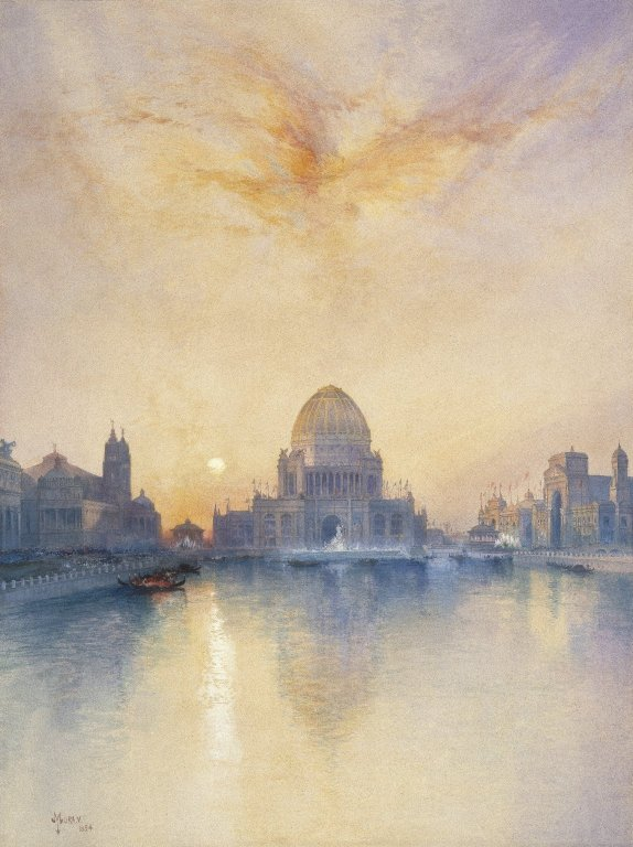 Painting of sunset over the Grand Basin of the Chicago World's Fair.