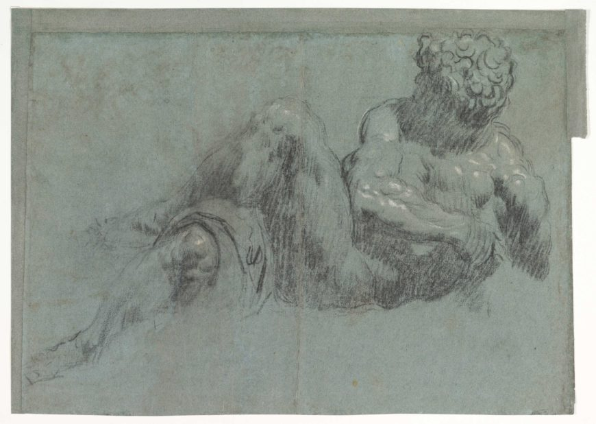 Jacopo Tintoretto, Study after Michelangelo's Giorno (recto and verso), c. 1550–55, black and white chalk on blue paper, 35 x 50.5 cm (The Metropolitan Museum of Art)