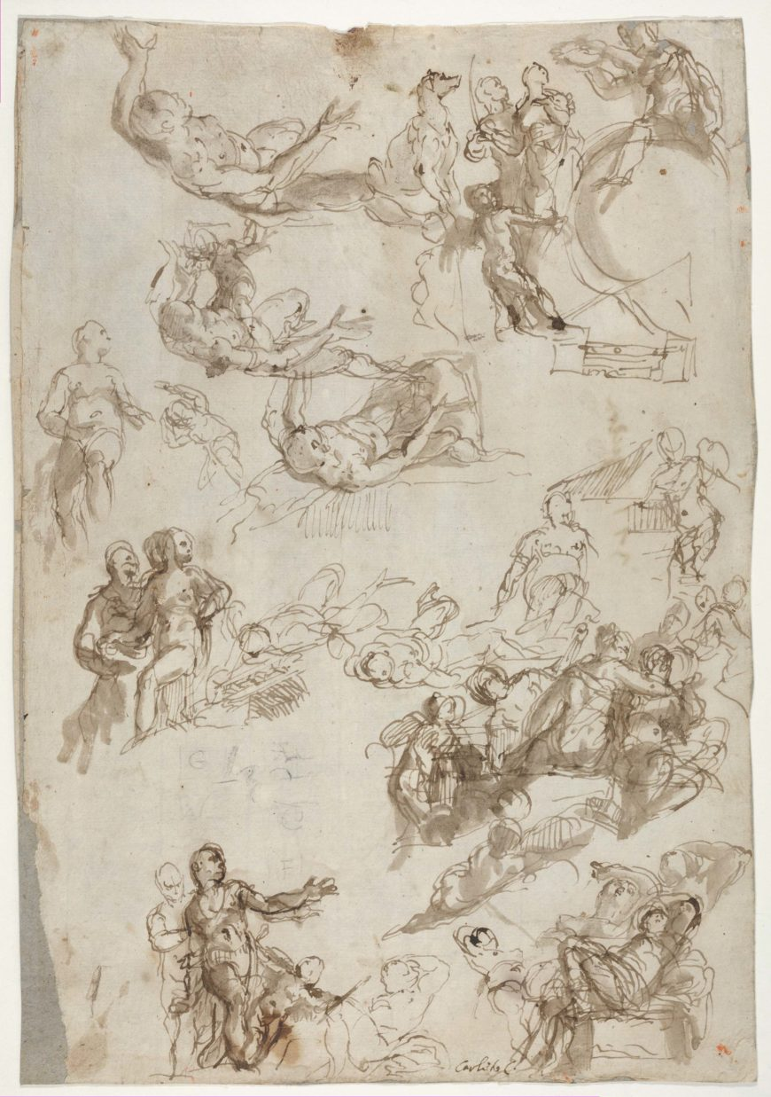 Paolo Veronese, Studies for The Allegories of Love, 1570–75, pen and brown ink, brush and brown wash, 32 x 22.2cm (The Metropolitan Museum of Art)