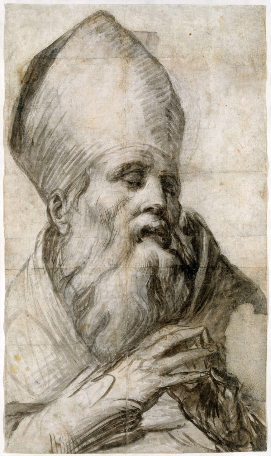Parmigianino, Bishop Saint in Bust-Length (Cartoon for an Altarpiece), 1503–40, brush and brown wash over black chalk, 71.8 x 40.8 cm (The Metropolitan Museum of Art)