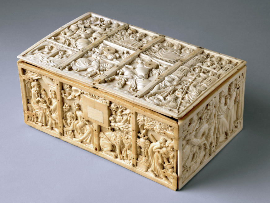Casket with Scenes from Romances, c. 1310–30, French, ivory, 10.9 x 25.3 x 15.9 cm (The Metropolitan Museum of Art)