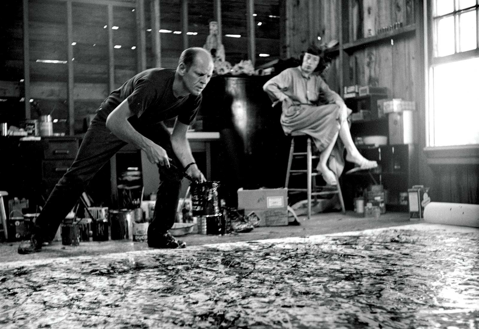 Hans Namuth, Jackson Pollock and Lee Krasner, 1950, gelatin silver print, sheet: 11 x 10 3/4 inches (28 x 27.3 cm) © Hans Namuth Estate, Center for Creative Photography