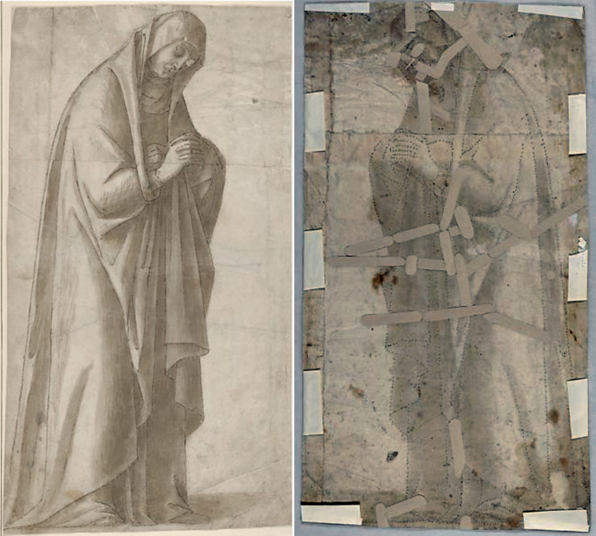 Vittore Carpaccio, Standing Female Figure (St. Anne; Cartoon for a Painting), c. 1502–04, pen and brown ink, brush and gray-brown wash, over charcoal underdrawing; outlines pricked for transfer, on two glued sheets of paper with overlapping joins, 40.8 × 22.4 cm (The Metropolitan Museum of Art)