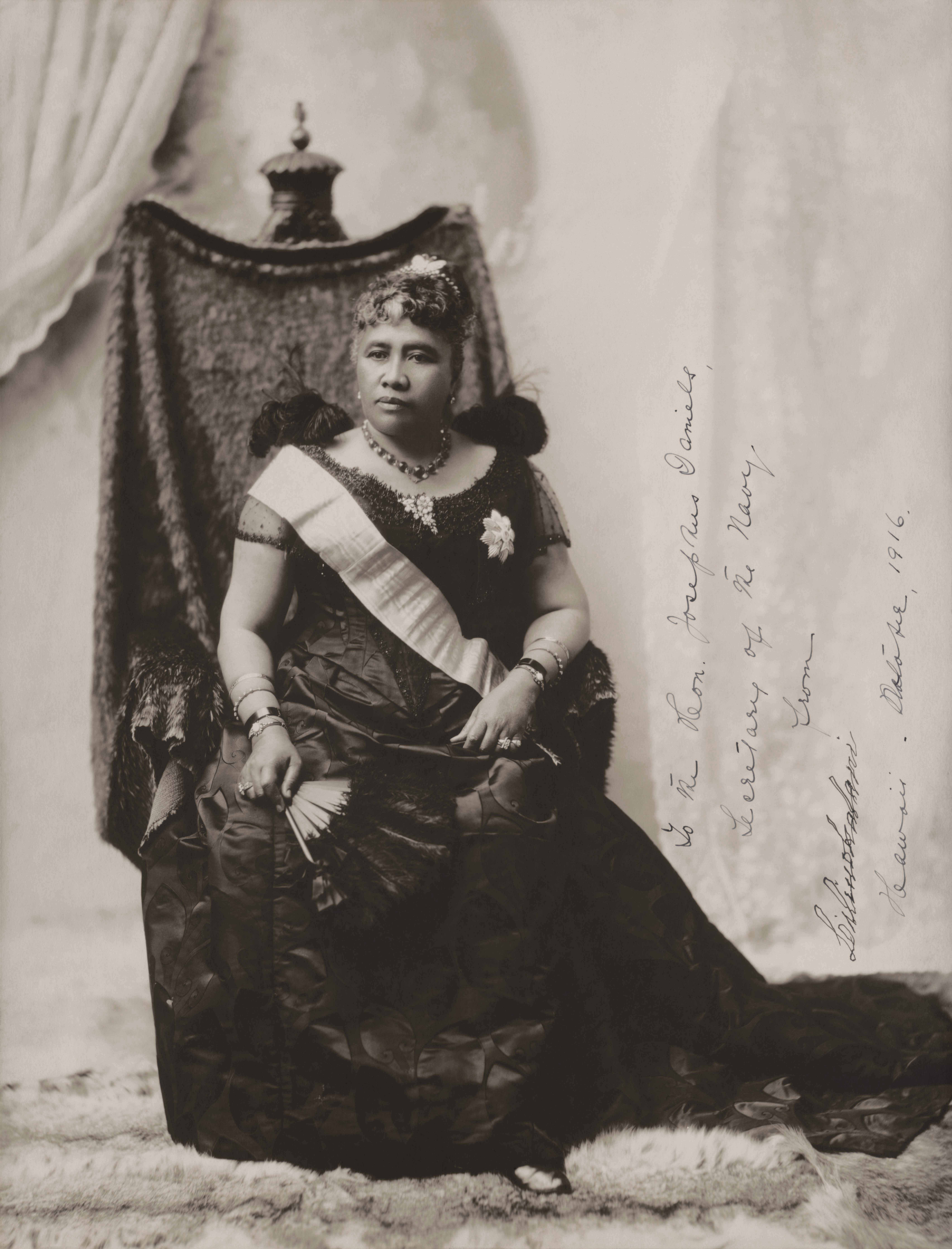 Queen Liliʻuokalani, the last sovereign of the of the Kalākaua Dynasty, c. 1891, gelatin silver print, sheet 38 x 29 cm (Library of Congress)