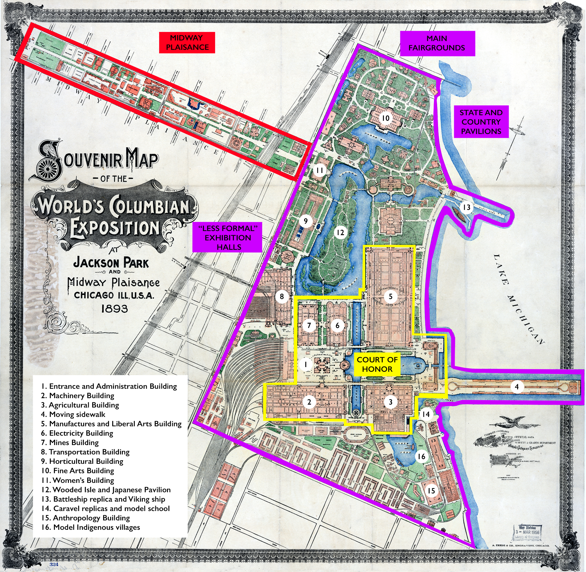 Numbered map of main fairgrounds
