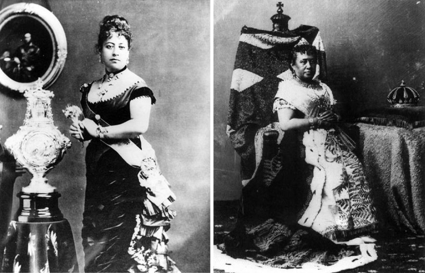 Left: Queen Emma with the silver christening font for her son Albert Kamehameha, a gift from Queen Victoria, c. 1880, photographer A. A. Montano (Hawaii State Archives); right: Queen Kapiolani of Hawaii, c. 1883, photographer J. J Williams (Hawaii State Archives)