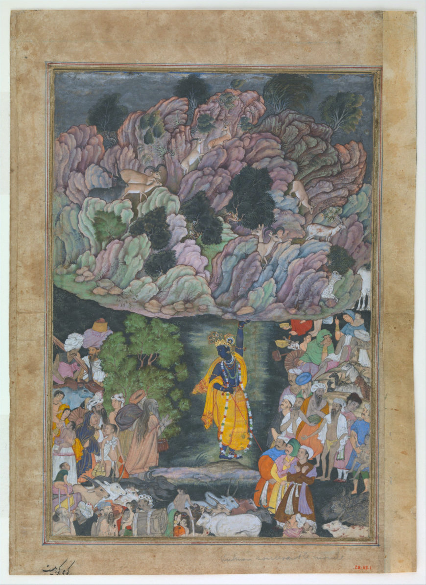 """""""Krishna Holds Up Mount Govardhan to Shelter the Villagers of Braj"""", Folio from a Harivamsa (The Legend of Hari (Krishna)), c. 1590–95 (Mughal period), ink, opaque watercolor, and gold on paper, attributed to present-day Pakistan, probably Lahore, 28.9 x 20 cm (The Metropolitan Museum of Art)"""