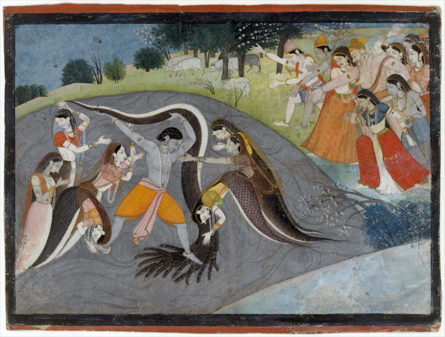 First generation after Manaku and Nainsukh, Krishna Subduing Kaliya, the Snake Demon: Folio from a Bhagavata Purana Series, c. 1785, opaque watercolor and ink on paper, northern India, Garwhal, Himachal Pradesh, 20.3 x 26.7 cm (The Metropolitan Museum of Art)