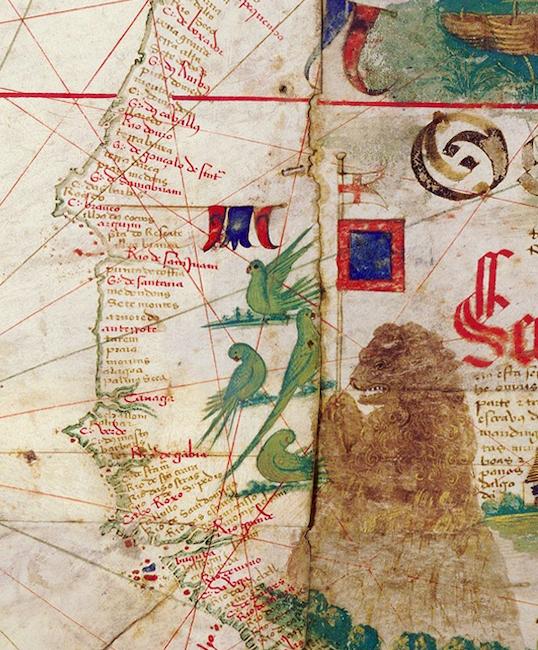 Cantino Planisphere, 1502, ink and pigment on vellum, 102 x 218 cm (Biblioteca Estense Universitaria, Modena)