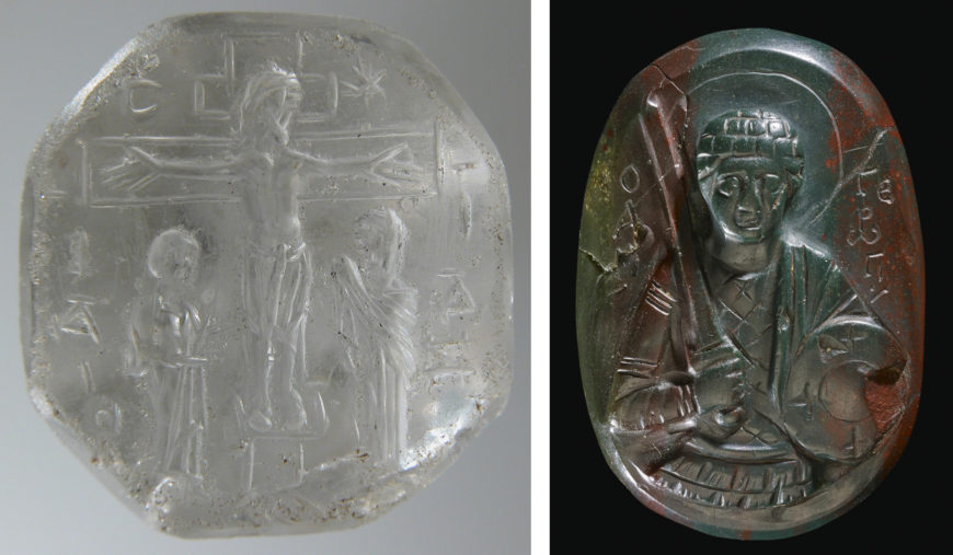 """Left: Engraved intaglio Seal with the Crucifixion, 9th–11th century, rock crystal, 2 x 1.8 x 2.4 cm (<a href=""""https://www.metmuseum.org/art/collection/search/468784"""">The Metropolitan Museum of Art</a>); right: Carved Cameo with Saint George, 11th–12th century, bloodstone, 4.1 x 2.8 x 1 (photo: <a href=""""https://www.britishmuseum.org/collection/object/H_1916-1108-1"""">The British Museum</a>, CC BY-NC-SA 4.0)"""