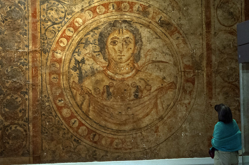 Floor painting from Qasr al-Hayr al-Gharbi, Syria, now in the National Museum in Damascus, 727. Photo by Daniel Waugh.