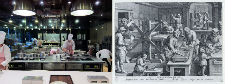 Left: commercial kitchen (photo: Kitchen, CC BY-NC 2.0); right: Jan Collaert I, After Jan van der Straet, called Stradanus, New Inventions of Modern Times, The Invention of Copper engraving, plate 19, c. 1600, 27 x 20 cm (The Metropolitan Museum of Art)