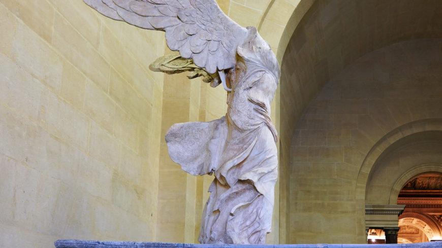 Nike of Samothrace (winged Victory), Lartos marble (ship), Parian marble (figure), c. 190 B.C.E., 3.28 meters high (Louvre, Paris; photo: Steven Zucker, CC BY-NC-SA 2.0))