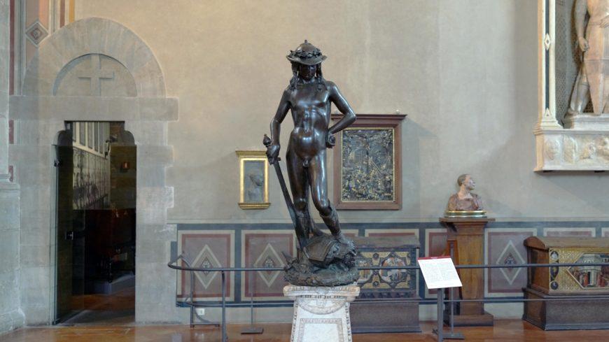 Donatello, David, c. 1440, bronze, 158 cm (Museo Nazionale de Bargello, Florence; photo: Steven Zucker, CC BY-NC-SA 2.0)