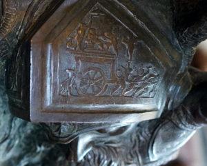 Chariot of Eros on Goliath's Helmet (detail), Donatello, David, c. 1440, bronze, 158 cm (Museo Nazionale de Bargello, Florence) (photo: Steven Zucker, CC BY-NC-SA 2.0)