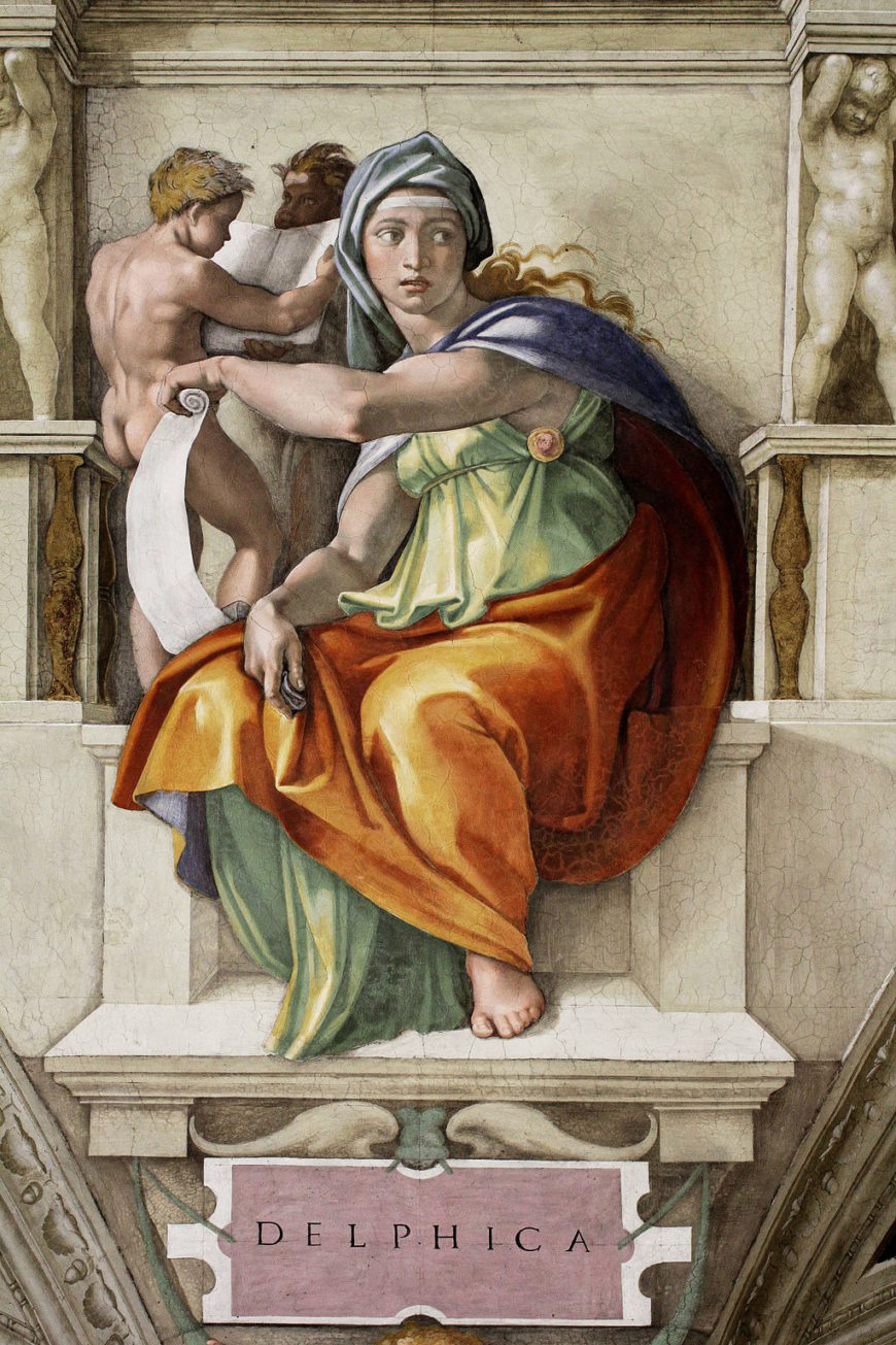 Michelangelo, Delphic Sibyl, Sistine Chapel Ceiling, 1508-12, fresco (Vatican City, Rome)