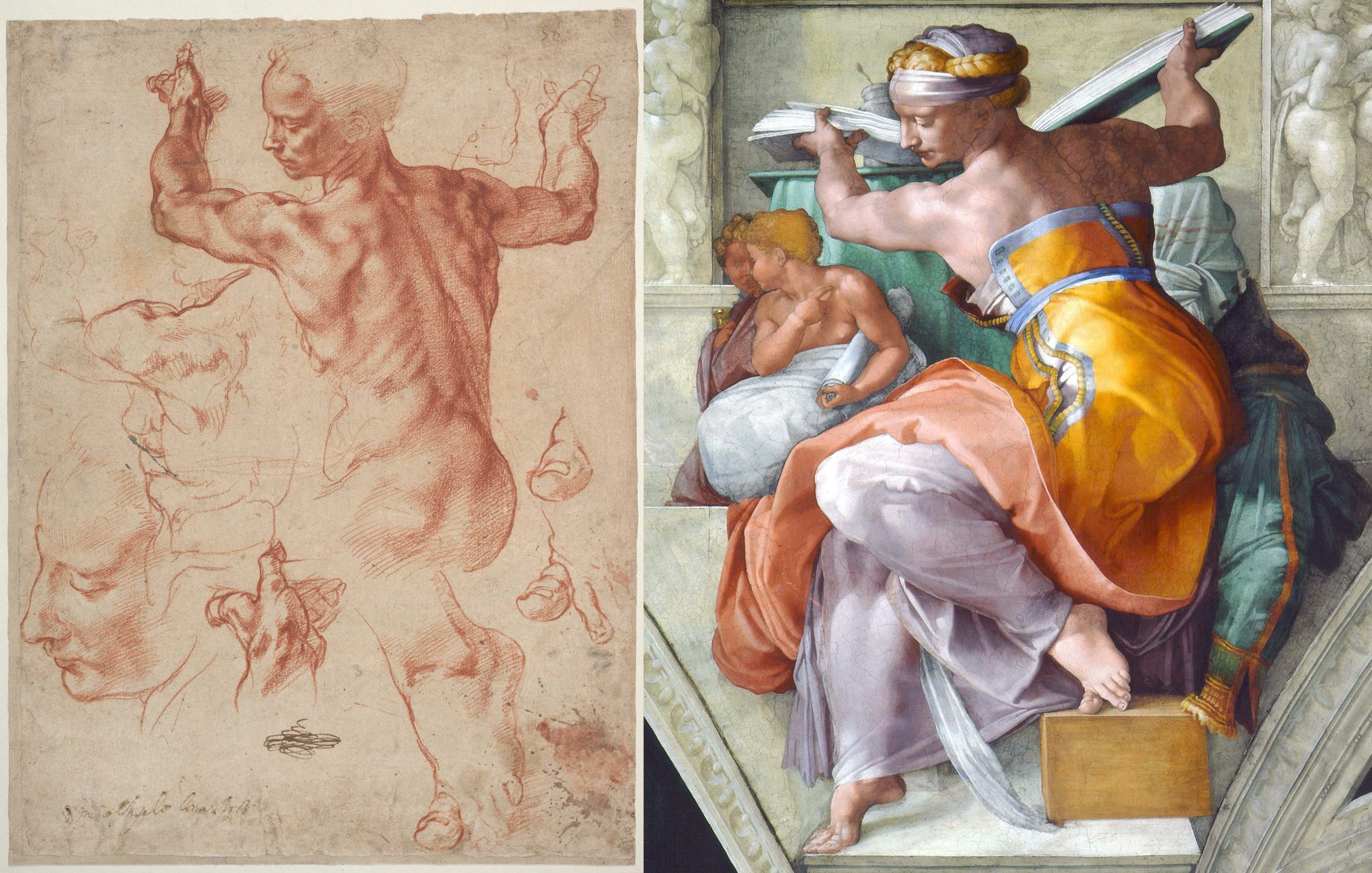 left: Michelangelo Buonarroti, Studies for the Libyan Sibyl (recto), c. 1510–11, red chalk, with small accents of white chalk on the left shoulder of the figure in the main study, 28.9 × 21.4 cm (The Metropolitan Museum of Art); right: Michelangelo, Libyan Sibyl, c. 1511, fresco, part of the Sistine Chapel ceiling (Vatican Museums)