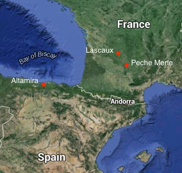 Map showing the location of three well-known prehistoric cave painting sites in France and Spain © Google