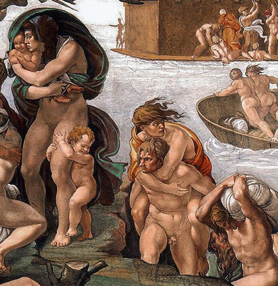 Michelangelo, The Deluge, Ceiling of the Sistine Chapel, 1508–12, fresco (Vatican City, Rome; photo: Michelangelo, CC0)