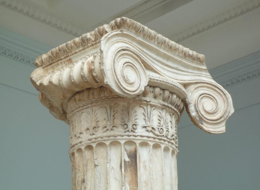 Ionic Capital, North Porch of the Erechtheion (Erechtheum), Acropolis, Athens, marble, 421–407 B.C.E., British Museum (photo: Steven Zucker CC:BY-NC-SA 2.0)