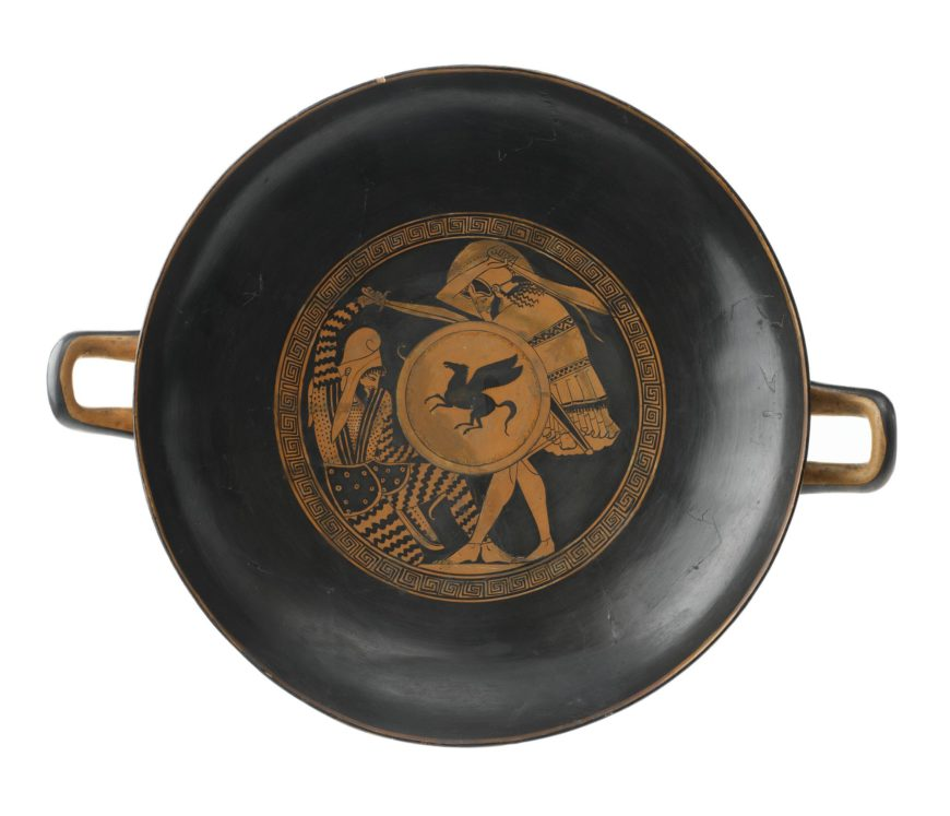 Kylix depicting a Greek hoplite slaying a Persian inside, by the Triptolemos painter, 5th century B.C.E. (National Museums of Scotland)