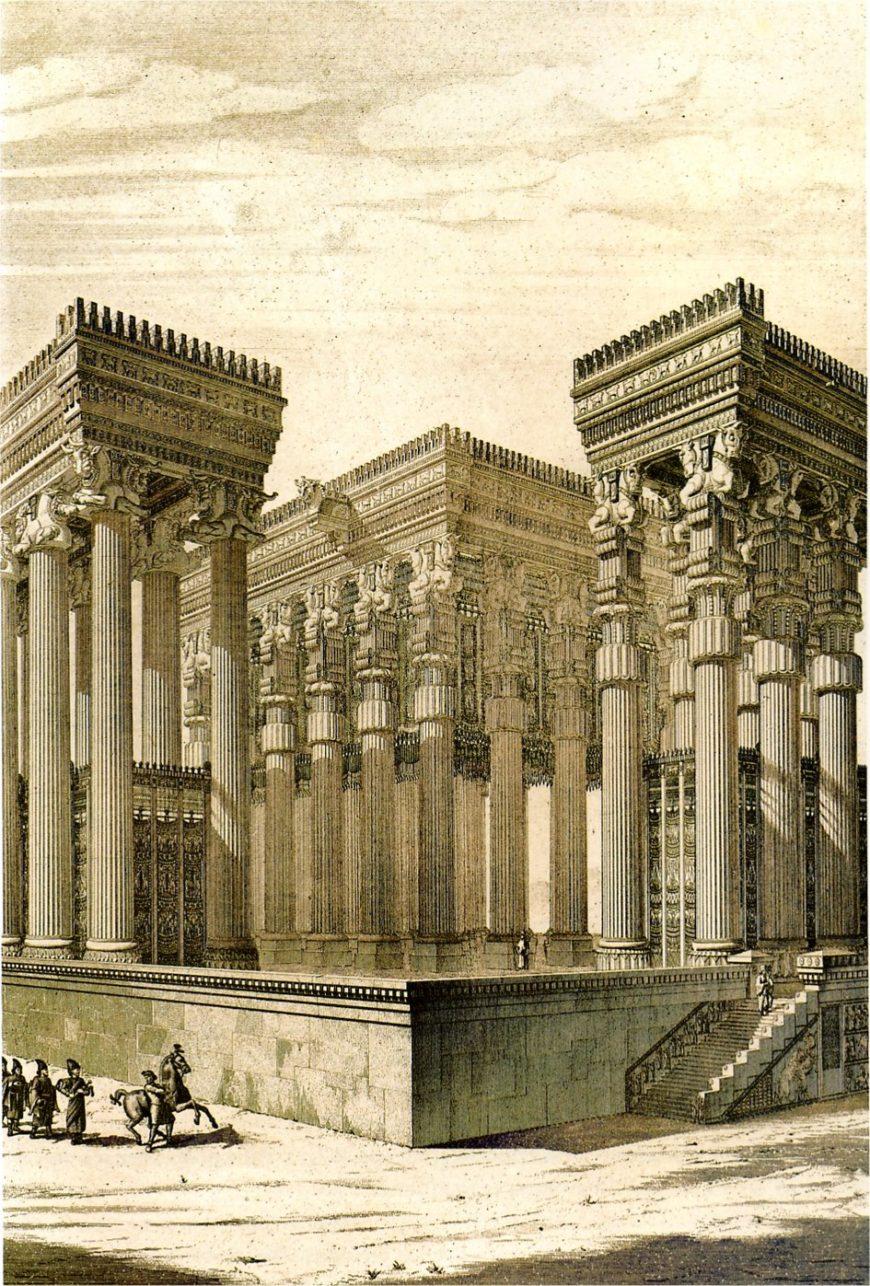 19th century reconstruction of the Apādana, Persepolis (Fars, Iran) by Charles Chipiez