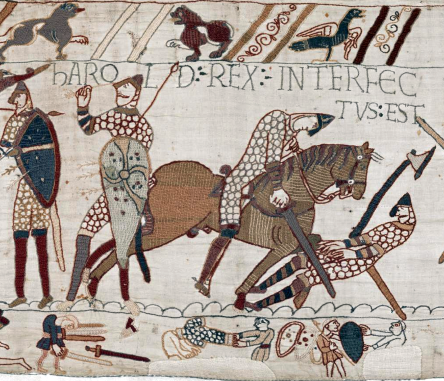 The death of King Harold at the Battle of Hastings (detail), Bayeux Tapestry, c. 1070, embroidered wool on linen, 20 inches high (Bayeux Tapestry Museum, Official digital representation of the Bayeux Tapestry—11th century.Credits: City of Bayeux, DRAC Normandie, University of Caen Normandie, CNRS, Ensicaen, Photos: 2017—La Fabrique de patrimoines en Normandie)