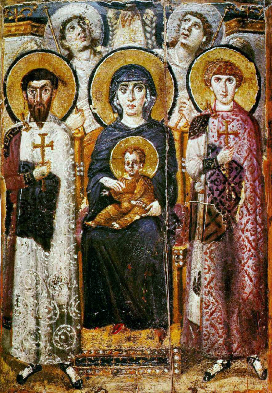 """Virgin (Theotokos) and Child between Saints Theodore and George, sixth or early seventh century, encaustic on wood, 2' 3"""" x 1' 7 3/8"""" (St. Catherine's Monastery, Sinai, Egypt; photo: NBS, public domain)"""