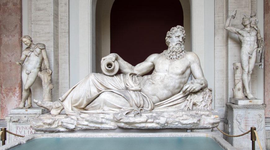 River god Arno, c. 117-138 C.E. (with Renaissance era restorations), marble (Pio Clementino Museum, Vatican) (photo: © Colin / Wikimedia Commons, CC-BY-SA-3.0)