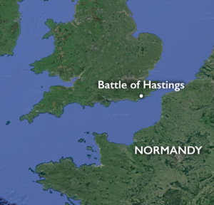 Map showing the location of the Battle of Hastings (underlying map © Google)