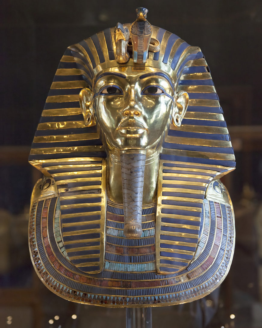 Death Mask from innermost coffin, Tutankhamun's tomb, New Kingdom, 18th Dynasty, c. 1323 B.C.E., gold with inlay of enamel and semiprecious stones (Egyptian Museum, Cairo) (photo: Roland Unger, CC BY-SA 3.0)